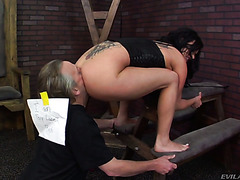 Submissive old fart licks Tory Lane's ass and vagina