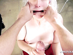 Liz Rainbow gets fucked in both holes before massive mouthful of cum