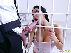 Warden pounds filthy holes of busty jailed slut Aletta Ocean