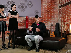 Two tattooed bitches Judas and Necro Nicki get ass banged by one man