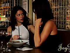 Two glamorous chicks fuck lesbian way in VIP zone at a restaraunt