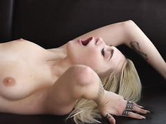 Marilyn Sugar, little Czech blondie, passionately fucks and orgasms