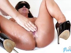 Blindfolded PAWG Amirah Adara face fucked, drilled doggy, fingered to squirting