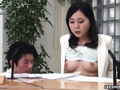 News announcer Miyuki Ojima gets toyed and sucks dick at work