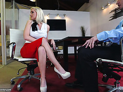 Alena Croft gets fucked in the office by foot fetishist