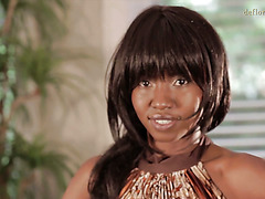 Shy and slim virgin ebony Ursula Matumba poses naked on cam