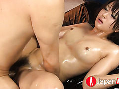 Totally oiled up Mito Ayase squirts after all that fingering and fucking