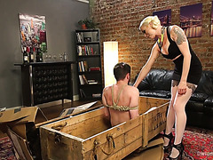 Slave toys his mistress Lorelei Lee and gets straponed