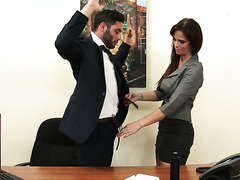 Handsome dude fucks his lady boss Syren De Mer to keep the job