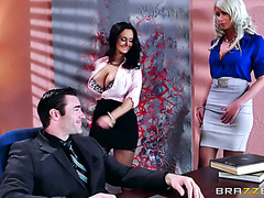 Horny boss interviews naughty Riley Jenner with thick secretary Ava Addams