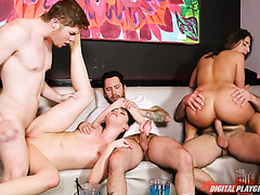 Two cuties Abella and Aria enjoy three big dicks during an exciting orgy