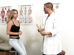 Dumb blonde Trisha Parks gets spanked and fucked by a doctor impostor