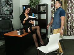 He has to fuck his hot lady boss Veronica Rodriguez to get a promotion