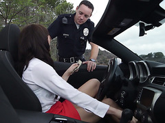 Police officer fucks hot Swiss MILF Bianca Breeze on a country road
