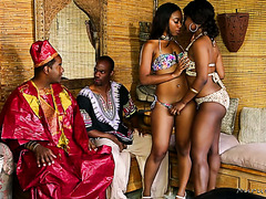 African prince and his counselor fuck two ebony masseuses