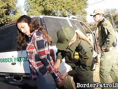 Fresh border patrol officer babe Karla Kush bangs her first illegal immigrant girl