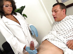 Sexy urologist Cassidy Banks fucks patient's cock with succulent tits