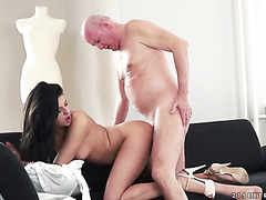 Young angel from Serbia Coco De Mal fucks 100 years old rusty cock