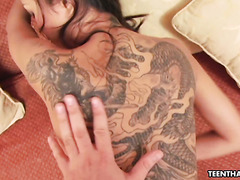 Hot POV with tattooed Thai girl Michelle bouncing on a white dick
