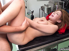 Tricky gynecologist fucks another hot Jap girl and cums on her face
