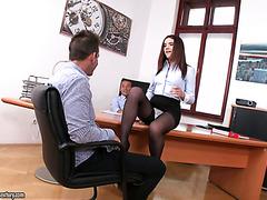 Boss and his business partner double fuck secretary Ally Breelsen