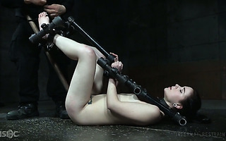 Obedient Amber Nevada gets bondaged and toyed hard by ruthless mofo