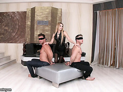 Charming mistress Karina Grand wants these guys double fuck her hard