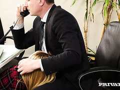 German chick Anny Aurora fucks like a slut in her boss' office