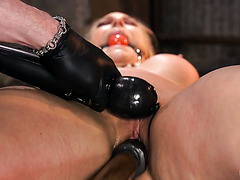 Bondaged Angel Allwood gets her tits tortured and pussy toyed hard