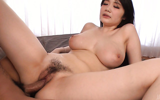 Extremely boobylicious Rie Tachikawa rides two guys till they nut inside