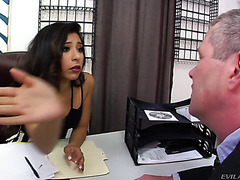 Young boss lady Nicole Ferrera turns old manager into her personal ass eater