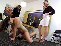 Corporate slut Kimberly Kane and her girlfriends humiliate a company freshman