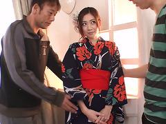 Nippon girl in kimono Kaori Maeda gets pounded by two samurais