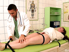 Samantha Bentley is a straitjacket gets skull fucked by a filthy doctor