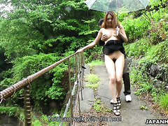 Sexy time under the bridge on  rainy day with Asian skank Miharu Kai