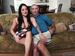 Old fart calls gets his ancient cock sucked by hot Aria Rose
