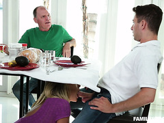 Naughty stepmommy Kagney sucks stepson's cock during breakfast