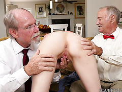 Older men pickup a tight college girl Alex Harper to busts her tight asshole
