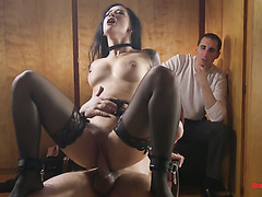 Cuckold watches his ravishing GF Katrina Jade joyfully jumping on a big cock