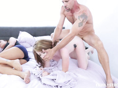 Teenage beauty Karlie Brookes fucks stepdad next to her sleeping mom