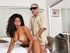 Hot and thick black girl Jenna Foxx spreads her legs for two geezers