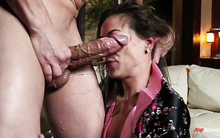 Asian hot wife Kalina Ryu gives insane deepthroat blowjob