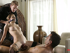Whorish Kimmy Granger fucks in front of her cuckold hubby