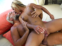 Fresh blonde babe Angelina Julie gets fucked by old cock