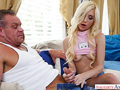 Tiny college chick Piper Perri gets laid with dad's mature friend