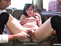 Yuri Rie sucks a dick off and gets toyed in Japanese bang van