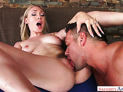 Lily Labeau gags on a huge cock and gets fucked in hairy vagina