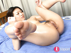 Beautiful Hina Aisawa gets toyed with rabbit vibrator to a massive orgasm