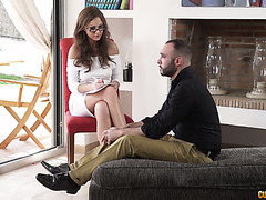 Tina Kay the sexologist makes his cock rise again and take it the ass