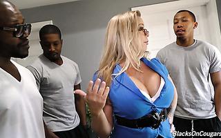 Four black fellas provide landlord's wife Amber Lynn Bach with their dicks